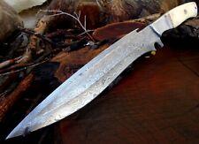 "Full Tang Raindrop Pattern Damascus Steel Bone Handle Long Knife Over 14"" Z5"