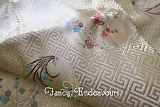 Chinese Silk Brocade Fabric Gold Greek Key Floral Pattern 15 Feet Hong Kong