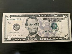 5 Dollar Bill Double Triples Star Note [  MF06661555*  ]