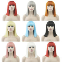 Women's Straight Short Wig Pink Gray Blue Cosplay Party Colorful Headwear Wigs