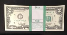 2017 FULL BUNDLE $2 Sequentially numbered 100 X 2 DOLLAR  BILLS