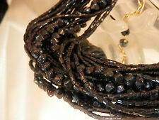 Muilti Strand Twisted Vintage 80's XX Sparking Black Glass Beads Necklace 238my7