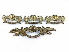 Lot of 4 Vintage Brass French Provincial Dresser Drawer Pull Art Deco Ornate H26