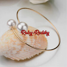 gold double pearl Bangle Bracelet adjustable faux pearl charms birthday summer