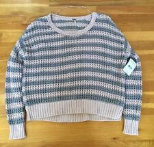 Free People Soft Pink/Grey Stripe Knit Cotton Women's Sweater Size XS