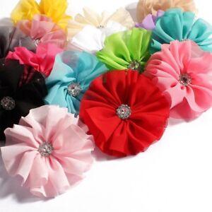Chic Ballerina Blossom Chiffon Fabric Flowers Rhinestone For Headbands DIY 30pcs