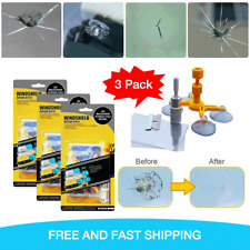 3 x Windshield Repair Kit Quick Fix DIY Car Glass Bullseye Rock Chip Crack Star