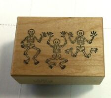 3 Skeleton Wood Block Rubber Stamp PSX D949 Halloween Scary