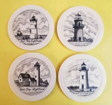 Martha's Vineyard Lighthouses Coaster Set Nautical Decor