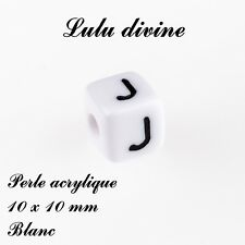 Perle acrylique alphabétique de 10 x 10 mm, Blanc : Lettre J (Lot de 10 perles)