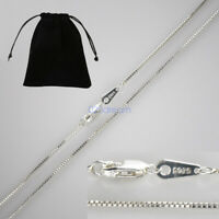 0.8mm Genuine Solid 925 Sterling Silver BOX Chain Necklace All Sizes Stamped