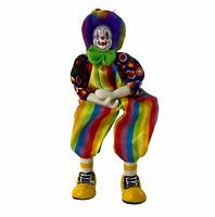 Vintage Ganz Clown Shelf Sitter Porcelain Head Hands Feet Rainbow Stripe Outfit