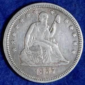 1857 25c Seated Liberty Silver Quarter Dollar Coin