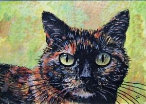 Cat British art print tortoiseshell from original painting by Suzanne Le Good