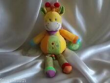 Doudou d'activités girafe, zèbre orange, jaune, vert, Pommette