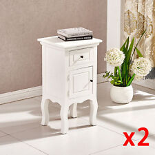 PAIR OF WHITE CHIC BEDSIDE TABLES WITH 1 DRAW AND CUPBOARD CABINET HALLWAY BED