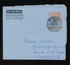 GOLD COAST BISEASI to NEW ZEALAND POSTAL STATIONERY AEROGRAMME 6d 1956