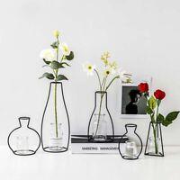 Creative Art Style Retro Iron Line Flowers Vase Metal Plant Holder Decor