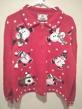 Vintage Ugly Christmas Sweater Tacky - XL Red Tiara Holiday Skating Snowmen!