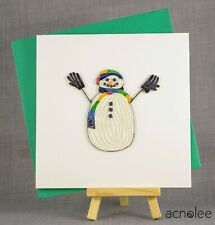 Quilling Cards - 3D Handmade Christmas Card Blank Quilled Xmas Snowman