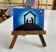 """ACEO ORIGINAL By PJR Miniature """"All Is Calm""""  Nativity Christmas"""