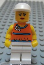 LEGO Minifig Female Girl Orange Top White Hat Flower on Top Red Lips Head
