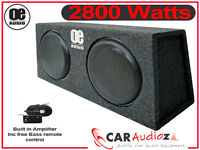 """MPV Double 12"""" Subwoofer Slim Shallow Active Bassbox Built in Amp 2800 Watts"""