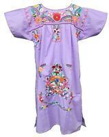 Women's Mexican Dress Puebla Embroidered - LAVENDER Handmade Authentic
