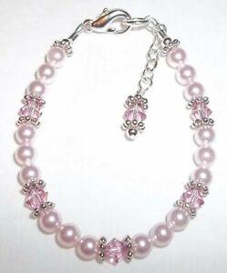 Newborn Baby Bracelet: Pink Crystal, Pearl & Silver made w Swarovski Elem.