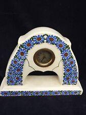 Kaminuhr Porzellan blaue Blumen belgisch ? Uhrwerk reparaturbedürftig