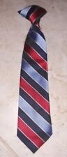 "Toddler Boys Navy Light Blue & Red Stripe Clip-On Dress Tie 11"" Long x 2.5"" Wide"