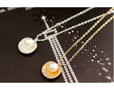 DF5 Dainty Silver & Gold Pearl In Textured Oyster Shell Pendant Necklace