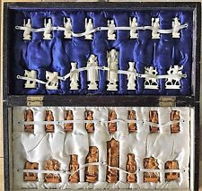 Antique Chinese Chess set. Chess board box included. Very Good vintage condition