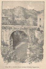 A1378 Ascoli - Ponte Romano - Xilografia - Stampa Antica del 1895 - Engraving