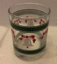 VTG Anchor Hocking Single Shot Glass Christmas Bell Design  With Anchor Sign