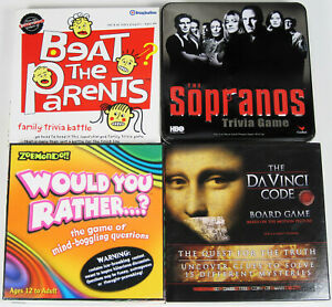 LOT OF 4 BOARD GAMES THE SOPRANOS DAVINCI CODE WOULD YOU RATHER BEAT THE PARENTS