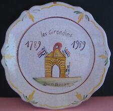 assiette faience les girondins bicentenaire 1789 1989 decor main