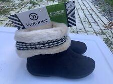 Isotoner Woodlands Boot Slippers Enhanced Heel LG 8.5-9 Black/white NWT