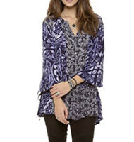 Free People Ratio Printed Tunic Top Floral Buttondown Oversized Boho Small Boho