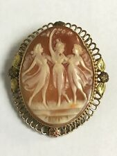 Exceptional Antique Dancing Women Carved Helmet shell 1/20 12K Gold Cameo