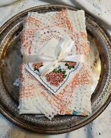Teal and Peach Garden Vintage Linens - 9 Piece Cutting/ Crafting Bundle