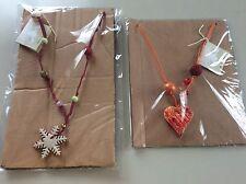 Collana Fiocco Di Neve Cuore Maiolica Ceramica Dipinta a Mano