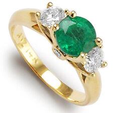 14k Gold Natural Emerald Diamond Anniversary Ring 4 to 9.5 #R991.