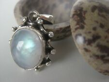 Rainbow Moonstone Silver Pendant ~ Icy light blue fire