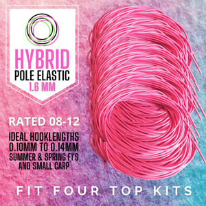 3 Metres - Hybrid Pole Fishing Elastic Size 8-12 PINK (1.6mm) - Free Delivery