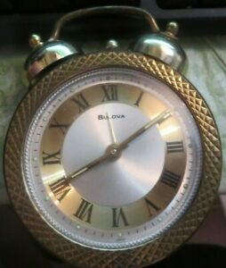 BULOVA Two Bell Wind Up Vintage Table Travel Alarm Clock Japan