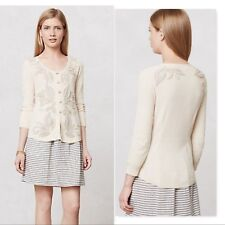 Anthropologie Knitted & Knotted Ardennes Cardigan sweater embellished applique