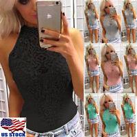 Women Lace High Neck Stretch Bodysuit Leotard Tops Bodycon Jumpsuit Blouse Shirt