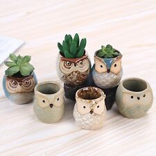 2.5 Inch Owl Pots Little Ceramic Succulent Flower Bonsai Window Planters Pots