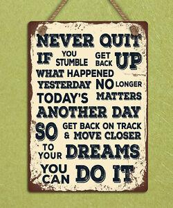 metal hanging sign Never quit inspiring motivational quote wall door plaque